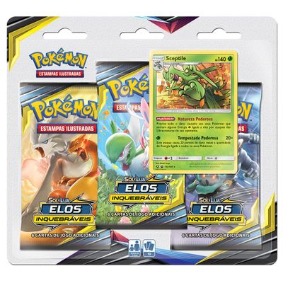 Jogo-Pokemon---Blister-Triplo---Elos-Inquebraveis---Sceptile---Copag
