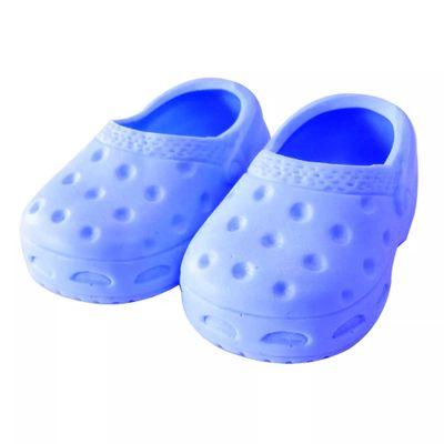 Acessorios-de-Bonecas---Sapatinho-Crocs---Tamanho-6---Azul-Bebe---Laco-de-Fita