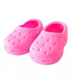 Acessorios-de-Bonecas---Sapatinho-Crocs---Tamanho-6---Rosa---Laco-de-Fita