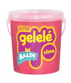 Balde-de-Slime---457-Gr---Gelele-Glitter---Vermelho---Doce-Brinquedo
