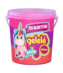Balde-de-Slime---457-Gr---Gelele-Unicornio---3-Cores---Roxo-Laranja-e-Pink---Doce-Brinquedo