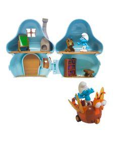 Kit-Playset-com-Veiculo-e-Mini-Figuras---Smurfs---Casa-Cogumelo-dos-Smurfs-com-Clumsy-Smurf-e-Spitfire---Sunny
