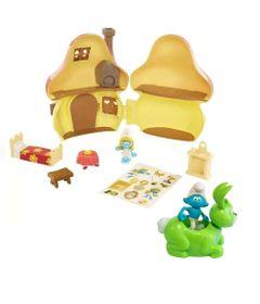 Kit-Playset-com-Veiculo-e-Mini-Figuras---Smurfs---Casa-Cogumelo-dos-Smurfs-com-Hefty-Smurf-e-Bucky---Sunny