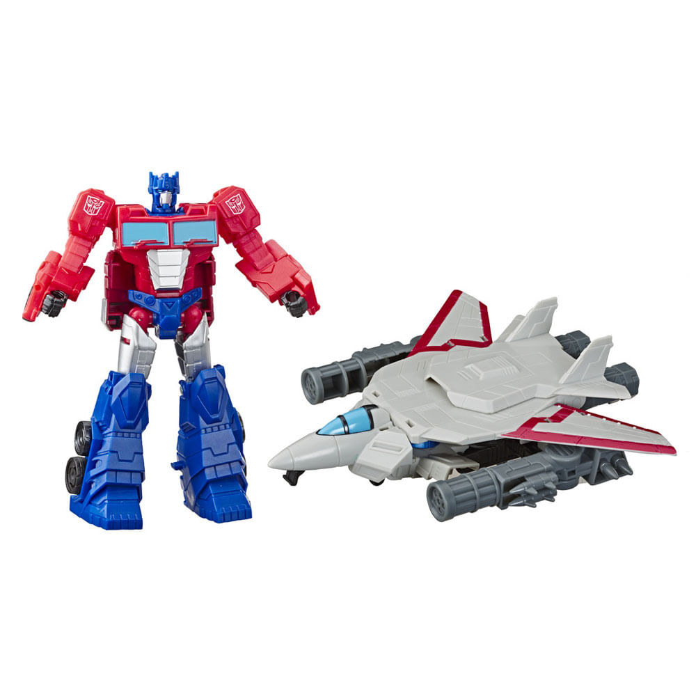 Mini Figuras Transformáveis - 15 Cm - Transformers - Cyberverse - Elite - Optimus Prime e Sky Turbine - Hasbro