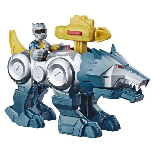 Conjunto de Mini Figuras - Power Rangers - Power Morph - Silver Ranger e Wolf Zord - Hasbro