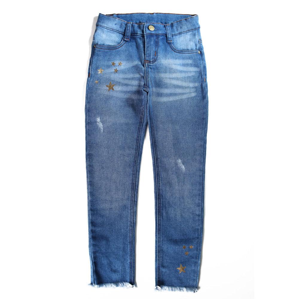 Calça Jeans - Estrelinhas Foil - Liga da Justiça - Algodão e Poliéster - Jeans - DC Comics