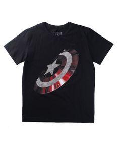 Camiseta-Manga-Curta---Marvel---Avengers---Escudo-Capitao-America---100--Algodao---Preto---Disney---6
