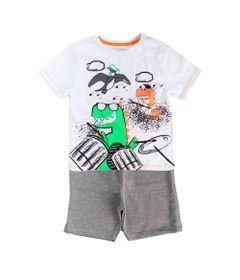 Conjunto-Infantil---Camisa-Dinos-e-Bermuda---100--Algodao---Branco-e-Mescla---Minimi---1