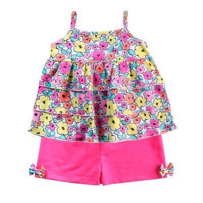 Conjunto-Infantil---Camisa-Estampada-e-Short---100--Algodao---Rosa---Minimi---1