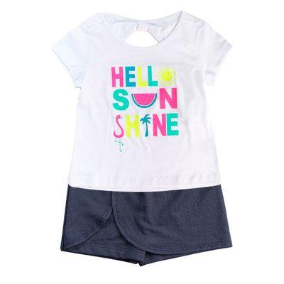 Conjunto-Infantil---Camisa-Manga-Curta-e-Shorts-Saia---100--Algodao---Branco-e-Marinho---Minimi---1