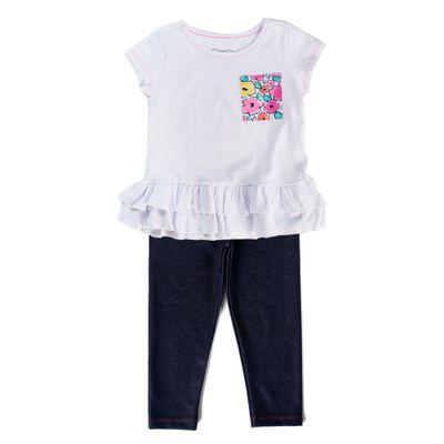 Conjunto-Infantil---Camiseta-Manga-Curta-e-Calca-Legging---Estampa-Floral---100--Algodao---Branco---Minimi---2