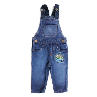 Jardineira-Jeans-com-Bolso---Bordado---Toy-Story---Algodao-e-Poliester---Jeans---Disney---P