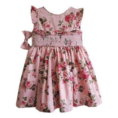 Vestido-Infantil---Casinha-de-Abelha---Floral---Algodao-e-Poliester---Rosa---Turma-Mixirica---1