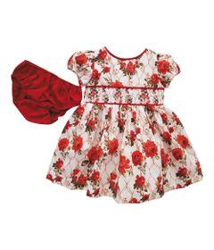 Vestido-Infantil---Floral---Casinha-de-Abelha---100--Algodao---Rosa-e-Vermelho---Turma-Mixirica---P