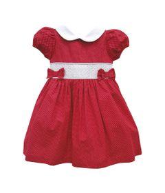 Vestido-Infantil-Manga-Curta---Casinha-de-Abelha---100--Algodao---Vermelho---Turma-Mixirica---P