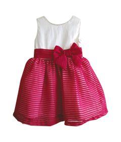 Vestido-Infantil---Saia-Voal-Listrada---Algodao-e-Poliester---Branco-e-Vermelho---Turma-Mixirica---1