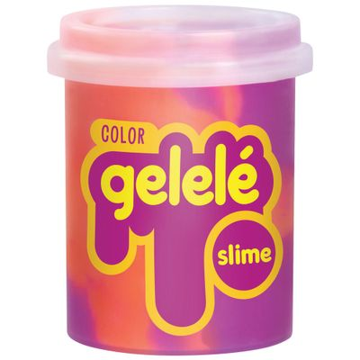 Pote-de-Slime---152-Gr---Gelele-Color---Laranja-e-Roxo---Doce-Brinquedo