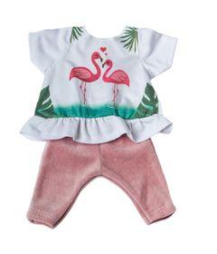 Roupa-para-Bonecas---Conjunto-Flamingos--Tam.-P---Laco-de-Fita_Frnete