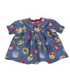 Roupa-para-Bonecas---Vestido-Azul-Gatinhos---Tam.-P---Laco-de-Fita_Frente