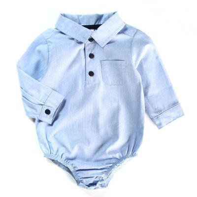 Body-Polo-Infantil---Manga-Longa---Algodao-e-Poliester---Chambrey---Azul---Minimi---P