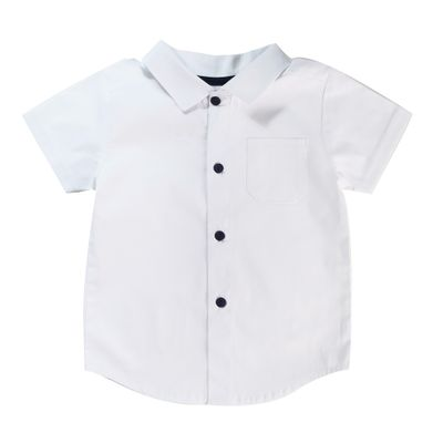 Camisa-Infantil---Manga-Curta---Algodao-e-Poliester---Chambrey---Branco---Minimi---1