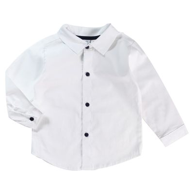 Camisa-Infantil---Manga-Longa---Algodao-e-Poliester---Chambrey---Branco---Minimi---1