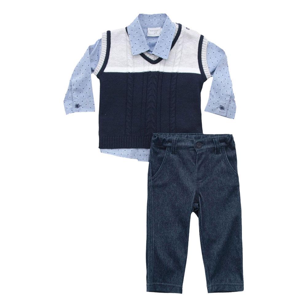 Conjunto Infantil - 3 Peças - Malha - Azul Marinho - Noruega