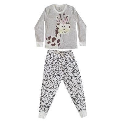 Pijama Infantil Camisa Manga Longa Girafa Algodao e Poliester Mescla e Bege Minimi 8