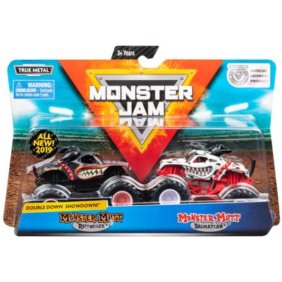 conjunto-de-veiculos-escala-1-64-monster-jam-monster-mutt-rottweiler-e-monster-mutt-dalmatian-sunny-2020_Embalagem