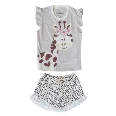 Pijama Infantil Camisa Manga Curta Girafa Algodao e Poliester Mescla e Bege Minimi 10