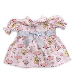roupa-para-bonecas-vestido-rosa-ursos-nas-nuvens-tam.-m-laco-de-fita-6012_Frente
