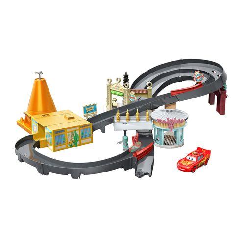 Pista de Percurso e Veículo - Disney - Carros - Pista Springs - Mattel
