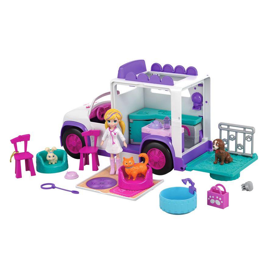 Polly Pocket e hospital móvel dos bichinhos - Mattel
