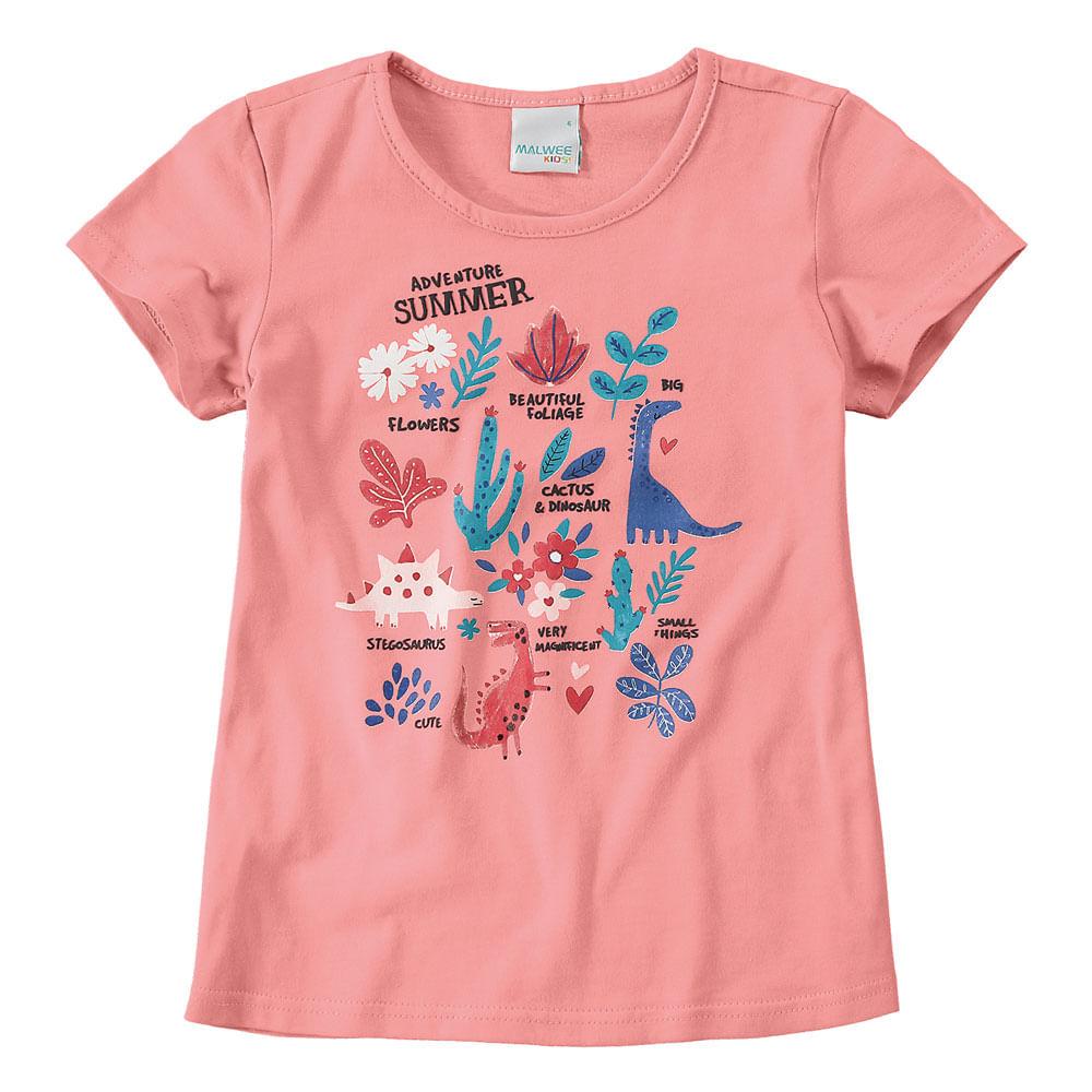 Camisa Manga Curta - Estampa Dinos - 100% Algodão - Rosa - Malwee