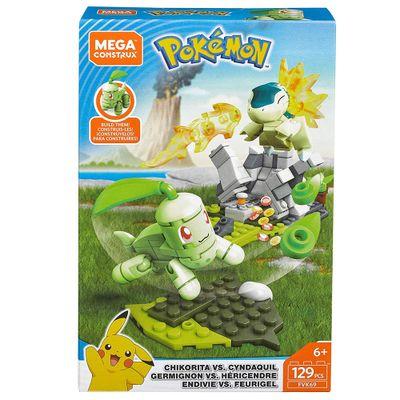 Blocos-de-Montar---Mega-Construx---Playset-de-Batalha---Pokemon---Chikorita-Vs-Cyndaquil-e-Germignin-Vs-Hericendre---Mattel