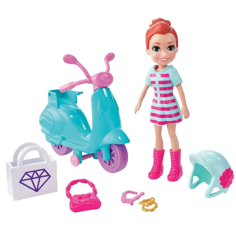 Mini Boneca e Veículo - Polly Pocket - Aventura Sobre Rodas - Motocicleta - Mattel