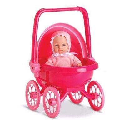 Mini-Boneca---Micro-Bebe-Mania---Carrinho-de-Bebe---Vermelho---Roma-Jensen