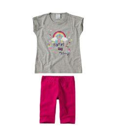 Conjunto-Infantil---Camisa-e-Bermuda---Rainbow---100--Algodao---Mescla---Malwee