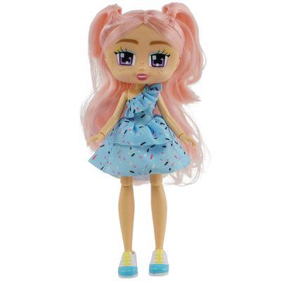 Boneca-Articulada---26-Cm---Boxy-Girls---Kiki-com-Vestido-Azul---Candide