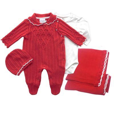 Conjunto-Infantil---Kit-Maternidade---Ponto-Trabalhado---Malha-TAM-P--Vermelho---Noruega_Frente
