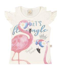 Camiseta-Infantil---Manga-Curta-Estampada---Flamingo---Branca---Livy-Malhas---1