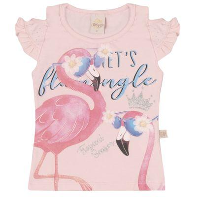 Camiseta-Infantil---Manga-Curta-Estampada---Flamingo---Rosa---Livy-Malhas---1