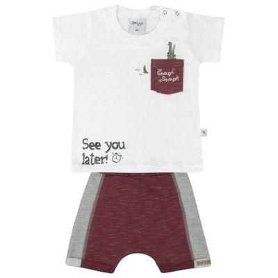 Conjunto-Infantil---Camisa-Manga-Curta-e-Bermuda---Branco-e-Vinho---Livy-Malhas---P