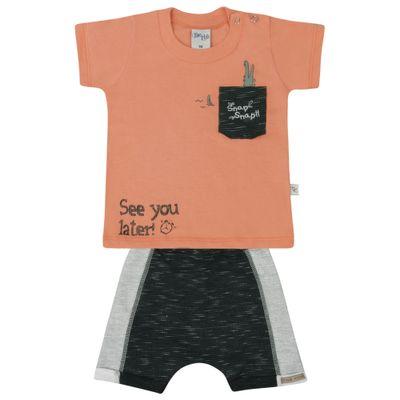 Conjunto-Infantil---Camisa-Manga-Curta-e-Bermuda---Laranja-e-Azul---Livy-Malhas---P