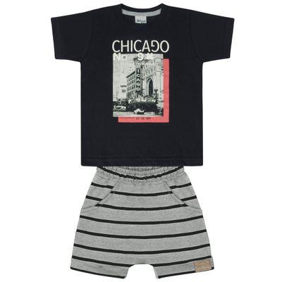 Conjunto-Infantil---Camisa-Manga-Curta-e-Bermuda---Preto-e-Mescla---Livy-Malhas---1