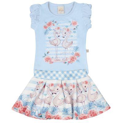 Conjunto-Infantil---Camisa-Manga-Curta-e-Saia-Rodada---Flamingos---Azul---Livy-Malhas---1