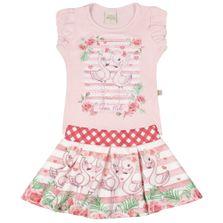Conjunto-Infantil---Camisa-Manga-Curta-e-Saia-Rodada---Flamingos---Rosa---Livy-Malhas---1