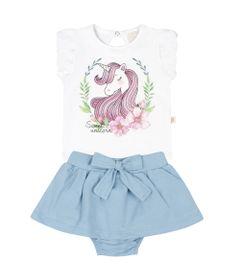 Conjunto-Infantil---Camisa-Manga-Curta-e-Saia---Unicornio---Branca---Livy-Malhas---P