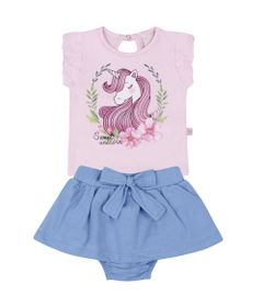 Conjunto-Infantil---Camisa-Manga-Curta-e-Saia---Unicornio---Rosa---Livy-Malhas---G