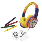 Headphone-Infantil-com-Cards-e-Giz-de-Cera---Toon---Laranja-e-Azul---OEX-Kids
